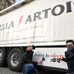 Eerste E-truck van AB Inbev actief in de stad Leuven